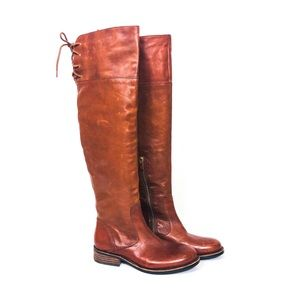 VINCE CAMUTO Cognac Fays OTK Lace Up Riding Boot 7